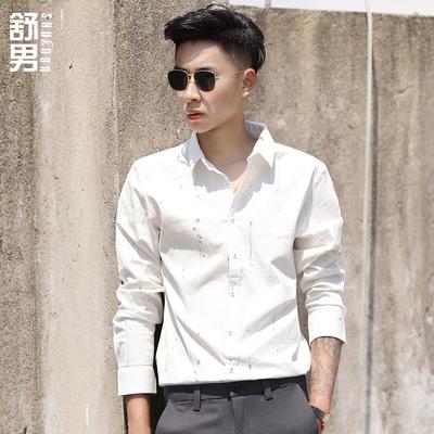 舒男秋季新款男士衬衫男潮流花卉印花帅气绅士长袖修身衬衫韩版