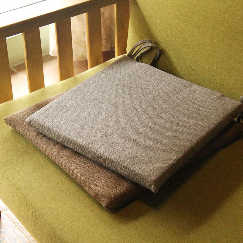 亚麻榻榻米坐垫日式简约纯色办公室椅垫透气防滑加厚可拆洗餐椅