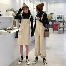 两件套冬装女装新款韩版袖百搭打底衫T恤+背带裙+连体裤时尚套装