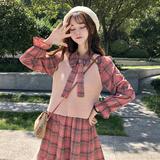 秋装新款网红甜美套装女2018韩版小清新连衣裙+马甲休闲两件套潮