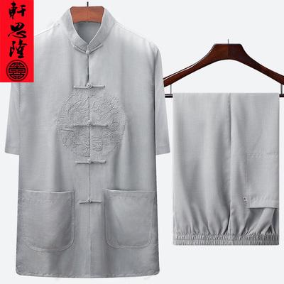 亚麻料唐装男短袖套装中老年人爷爷夏装老人衣服太极服装中式男装