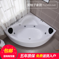 Home Adult couple standalone fan bathtub triangle bathtub small house surfing massage constant temperature heating double