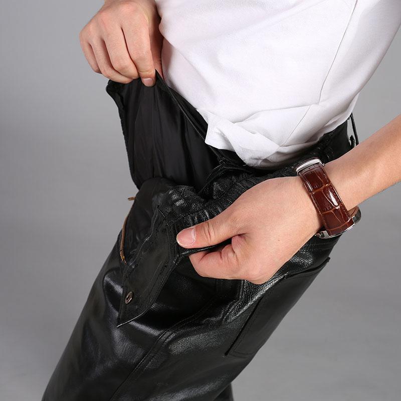 牛仔款牛皮男士皮裤 深档整皮中老年保暖真皮高腰宽松头层骑车