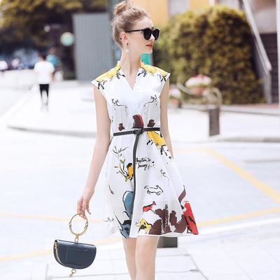 RMO&JUL2018夏装女装新款 气质水墨画动物印花无袖雪纺连衣裙YC