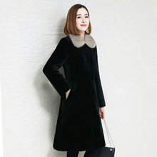 2018 new fur one coat female long section sheep shearing coat Slim water jacket collar Haining fur thickening
