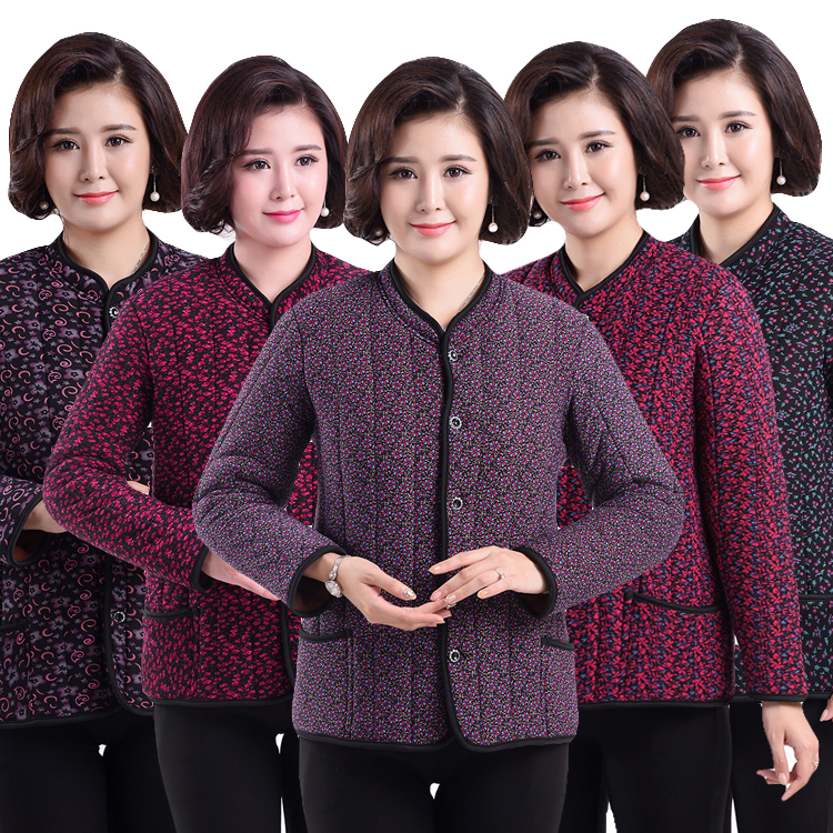 冬季中老年女士加绒加厚棉服外套短款老人加肥加大码保暖棉袄棉衣