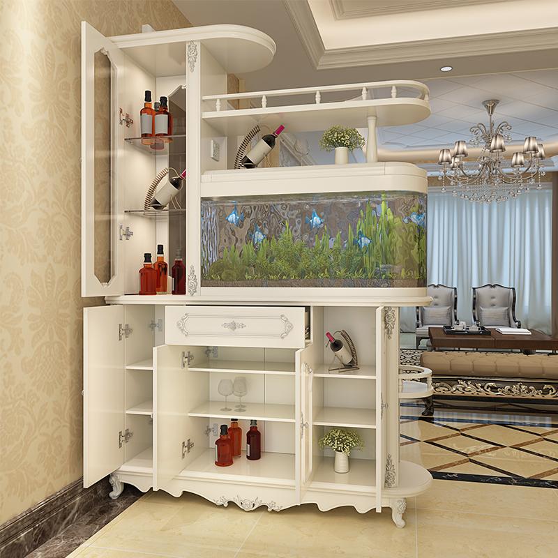带鱼缸客厅隔断柜