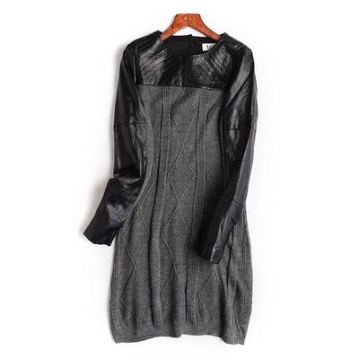 五折   新品立体菱形格织花拼皮设计长袖连衣裙