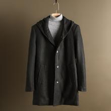 温闽派系设计师风尚新品春装略厚中长款连帽风衣针织减龄大衣外套