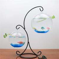Creative home decoration hanging desk face bucket fish tank ornaments transparent glass small mini round goldfish tank