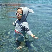 儿童泳衣男童女孩连体鲨鱼防晒速干婴儿小童宝宝1-3岁长袖游泳装