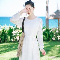 2017夏季新品女装长袖白色雪纺连衣裙波西米亚长裙海边度假沙滩裙