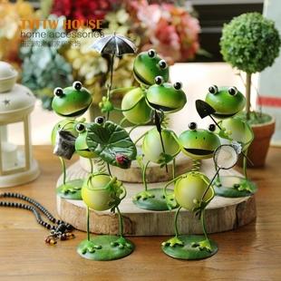 可爱夏季款 家居装 隔板摆件 饰品 桌面小摆设 俏皮铁皮娃娃青蛙