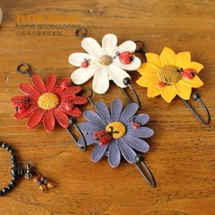 田园风装饰单个菊花挂钩树脂铁艺服装店衣帽钥匙创意墙壁挂饰
