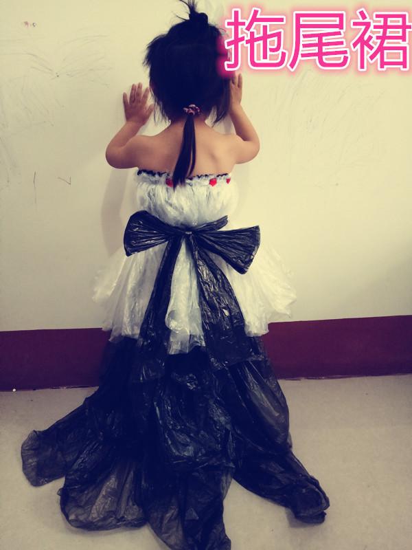 六一儿童亲子装裹胸公主拖尾婚纱裙环保时装走秀舞台演出环保服装
