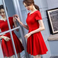 2018夏季新款女装修身显瘦遮肚子连衣裙韩版中长款红色V领短袖裙