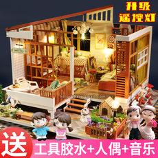 Super cute DIY hut assembled architectural model villa handmade girl birthday gift child adult toy
