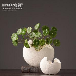 唐朝白色陶瓷插花瓶摆件三件套现代简约欧式家居软装饰品客厅摆设