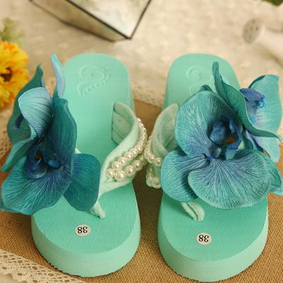 2018夏包邮海边花朵沙滩鞋人字拖坡跟拖鞋度假凉鞋女夏季防滑拖鞋