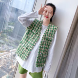 Pregnant women's horse a spring autumn short sleeveless plaid jacket loose net red pregnant women's clothing early female top light ripe