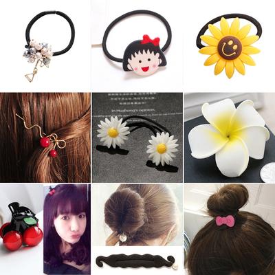 韩版小雏菊花朵发夹复古发绳珍珠蕾丝发箍鸡蛋花发夹盘发器头饰品