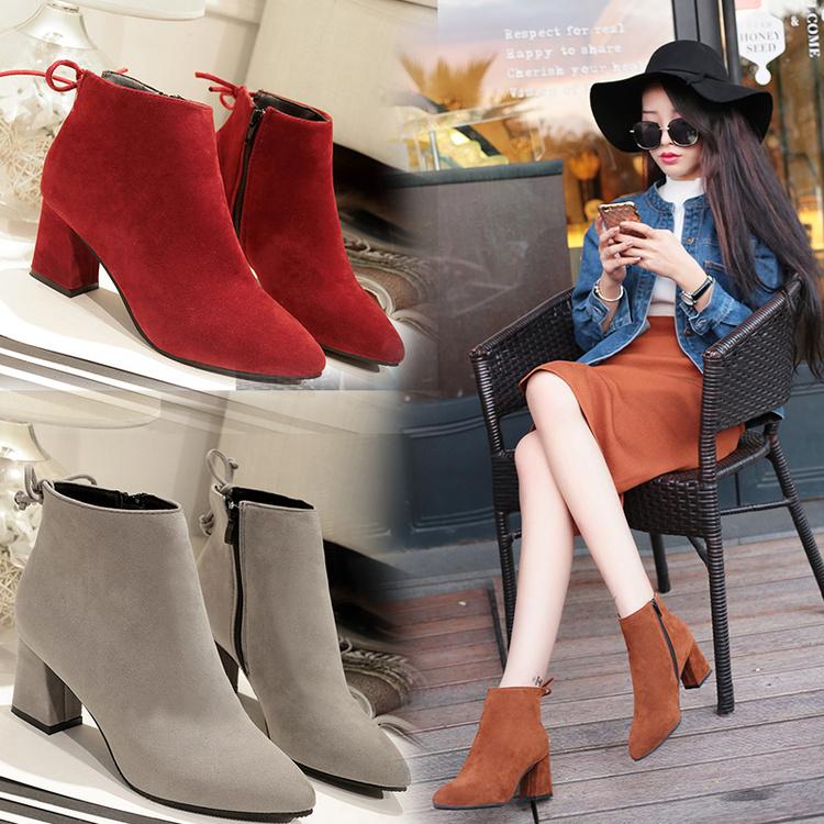 欧美尖头粗跟高跟鞋秋季短靴加大码女靴41- 43特大号44 45女鞋潮