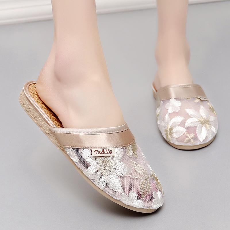 女式包头蕾丝女士凉拖鞋家居室内防滑地板居家亚麻拖鞋女家用夏天