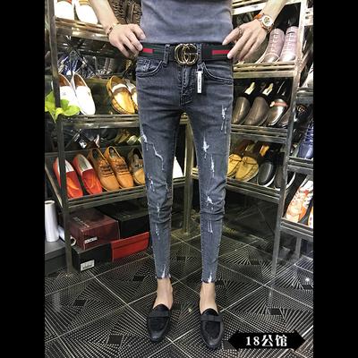 社会精神小伙夏季破洞紧身牛仔裤社会人修身27码26男生小脚九分裤