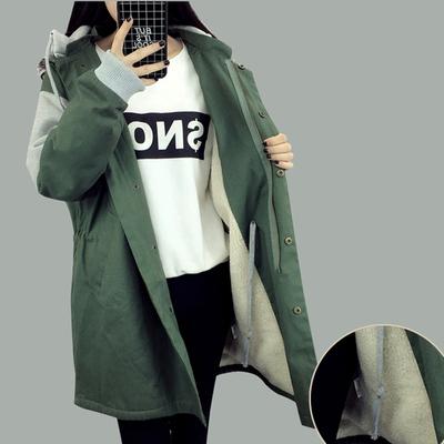 韩版学生2018秋冬新女款羊羔毛中长款外套女宽松连帽加厚棉衣棉服