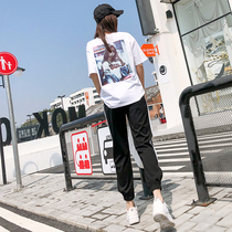 2019新款运动套装女宽松夏天短袖九分裤子休闲两件套洋气时尚潮流
