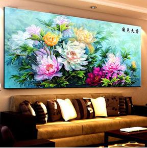 印花十字绣花草系列国色天香花开富贵满堂牡丹新款客厅十字绣大画