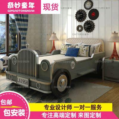 奇妙童年定制实木儿童床套房家具青少年创意老爷车环保汽车儿童床