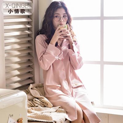 新款睡裙女春秋韩版宽松大码家居服中长款纯棉连衣裙长袖睡衣
