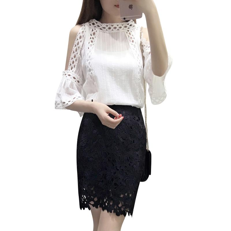 夏季套装女时尚2018新款小香风名媛气质蕾丝包臀短裙时髦ol两件套