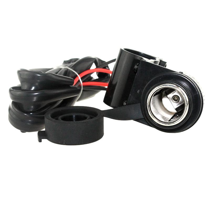 摩托车12V通用改装车载点烟器座带点烟头防水防尘点烟器支架固定