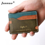 Junuo handmade simple mini purse men's leather ultra-thin small card package head layer vegetable tanned leather compact business card holder