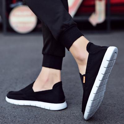 老北京布鞋男鞋子春季男士休闲鞋韩版潮流百搭一脚蹬懒人鞋帆布鞋