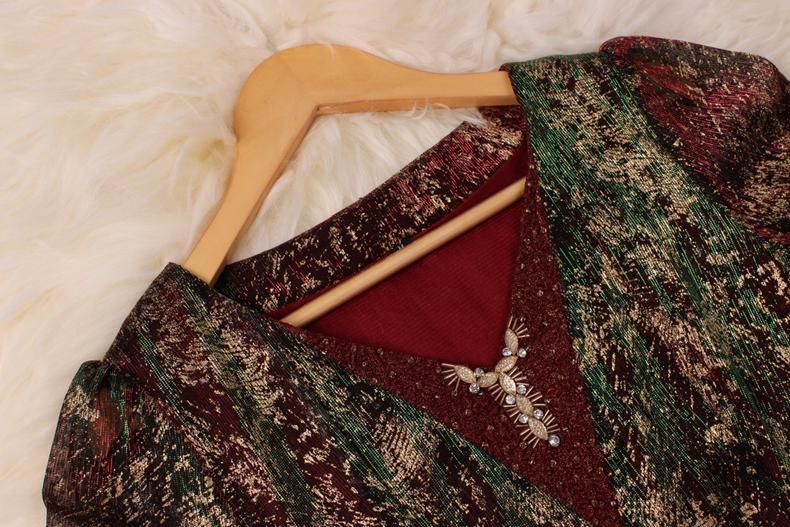 妈妈装连衣裙春秋装中老年大码气质结婚庆婚宴会礼服假两件套裙子
