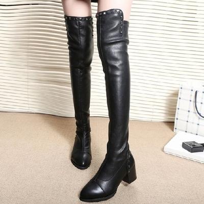 2018秋冬新款女靴过膝长靴高跟时尚筒靴粗跟铆钉长筒加棉靴骑士靴