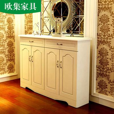 欧集 鞋柜欧式实木白色烤漆田园北欧大容量简约玄关门厅多功能