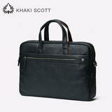 Khaki scott/men's handbag leather business casual one-shoulder bag large-capacity leather leather computer briefcase