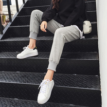 Grey sportswear women's loose-legged casual pants spring 2019 new Korean version of student's nine-minute trousers Hallenwei pants