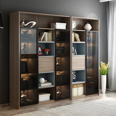 北欧书柜简约现代带玻璃门胡桃色书橱格子展示柜自由组合书柜