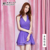 紫色公主露背裙