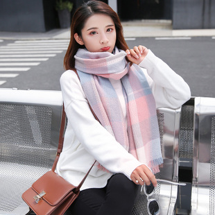 原宿围巾女士秋冬季韩版加厚长款格子学生围脖仿羊绒披肩两用百搭