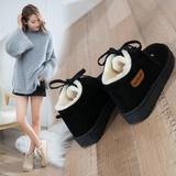 2018冬季新款百搭加绒保暖棉鞋加厚靴子短筒系带学生休闲雪地靴女