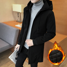 Men's windbreaker 2018 new mid-long Korean version of the trend of self-cultivation students in autumn and winter thick coat handsome overcoat