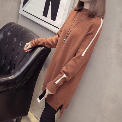 中长款高领毛衣女套头长袖加厚宽松拼色开叉针织打底衫秋冬连衣裙