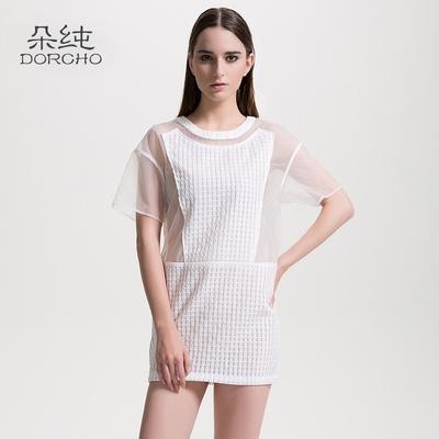 朵纯欧根纱短袖圆领连衣裙女士宽松显瘦纯色直筒裙夏季简约