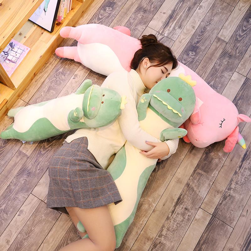 独角兽抱枕玩偶趴趴公仔恐龙毛绒玩具抱着睡觉抱的娃娃床上长条枕